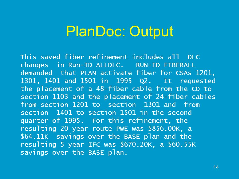 14 PlanDoc: Output This saved fiber refinement includes all DLC changes in Run-ID ALLDLC. RUN-ID FIBERALL demanded that PLAN activate fiber for CSAs 1