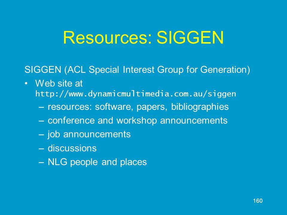 160 Resources: SIGGEN SIGGEN (ACL Special Interest Group for Generation) Web site at http://www.dynamicmultimedia.com.au/siggen –resources: software,