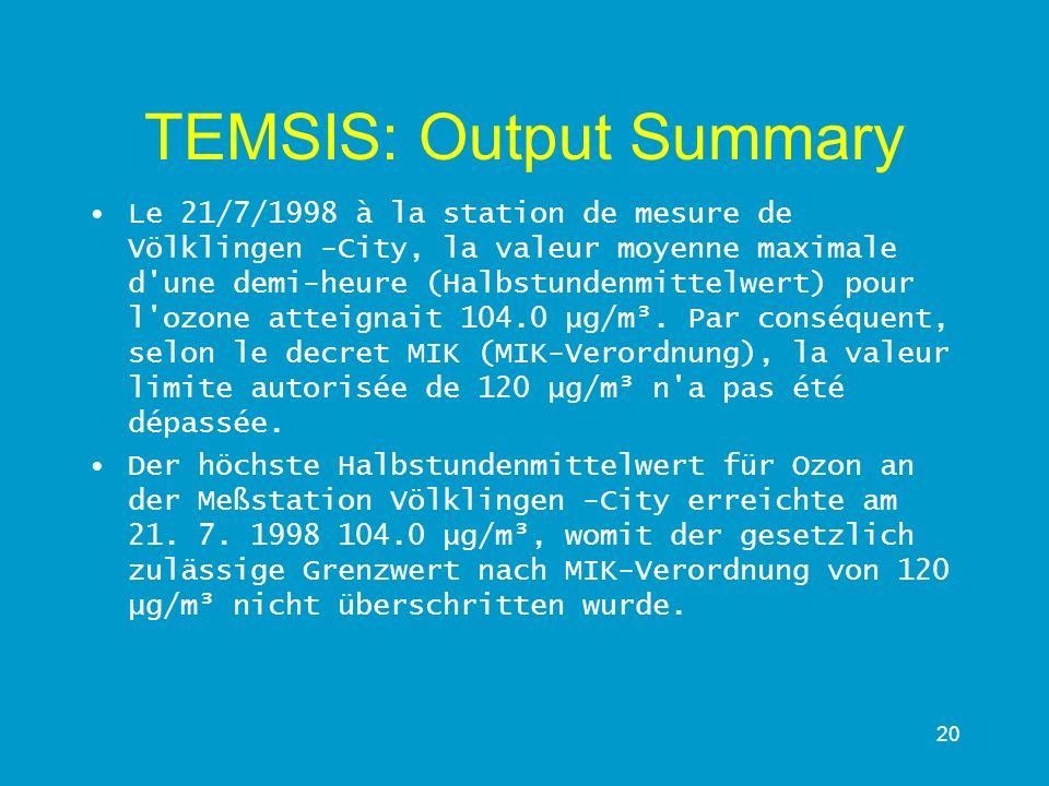 20 TEMSIS: Output Summary Le 21/7/1998 à la station de mesure de Völklingen -City, la valeur moyenne maximale d'une demi-heure (Halbstundenmittelwert)