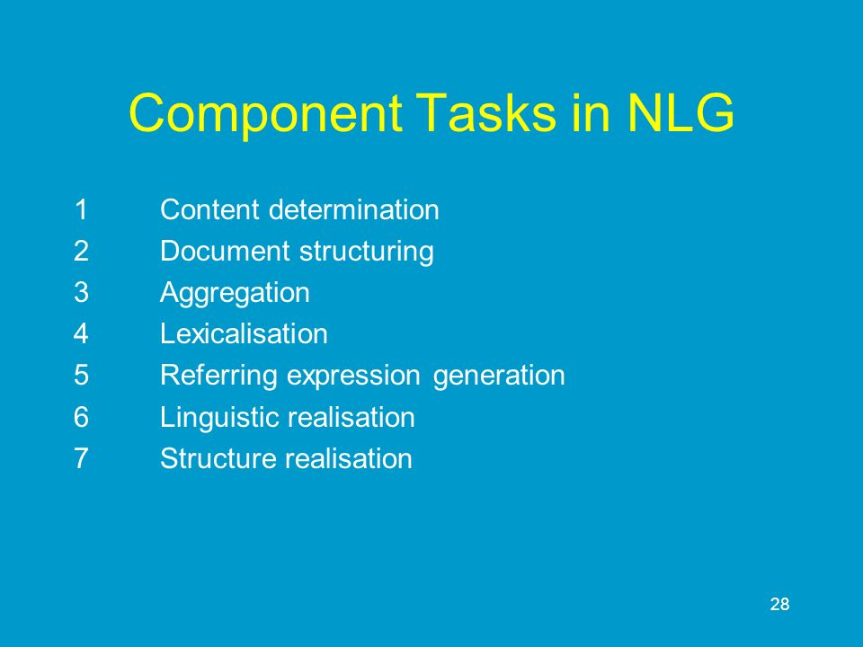 28 Component Tasks in NLG 1Content determination 2Document structuring 3Aggregation 4Lexicalisation 5Referring expression generation 6Linguistic reali