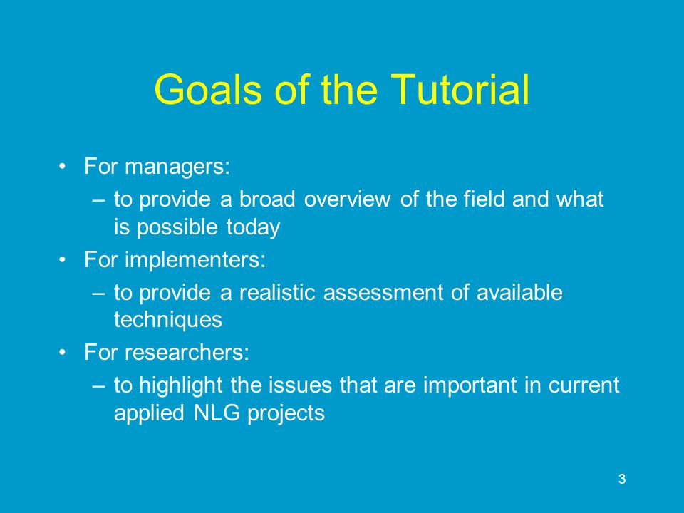 144 Overview 1An Introduction to NLG 2Requirements Analysis and a Case Study 3The Component Tasks in NLG 4NLG in Multimedia and Multimodal Systems 5Conclusions and Pointers