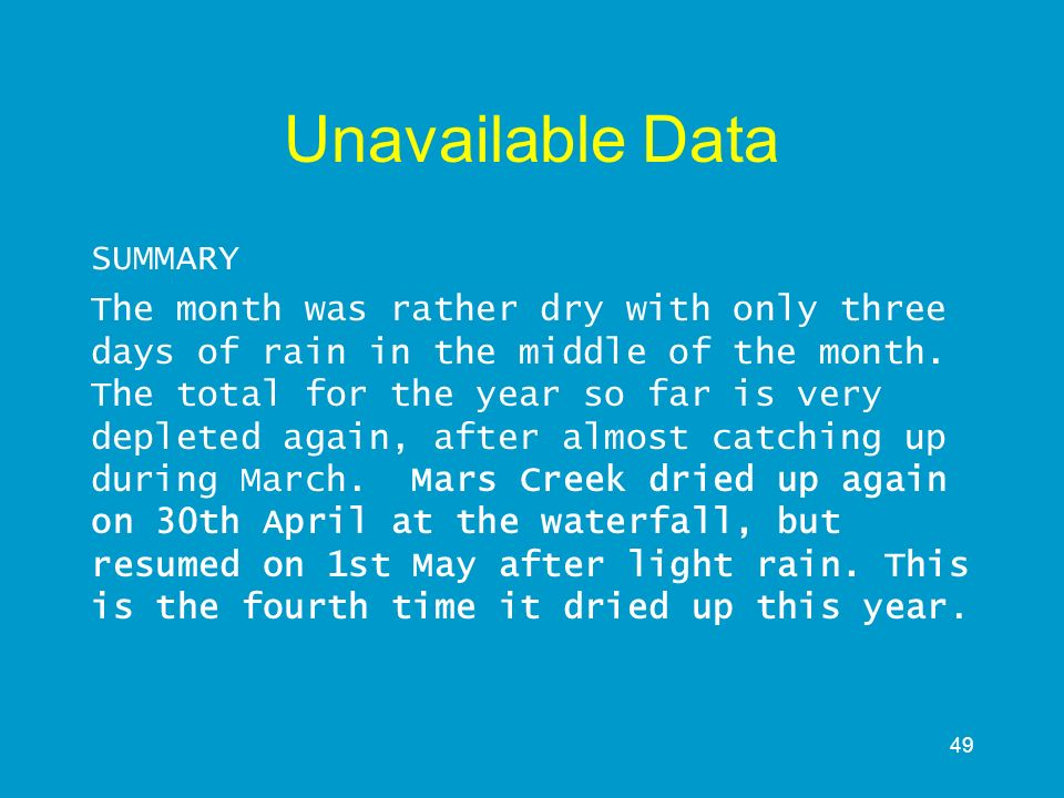 49 Unavailable Data SUMMARY The month was rather dry with only three days of rain in the middle of the month. The total for the year so far is very de