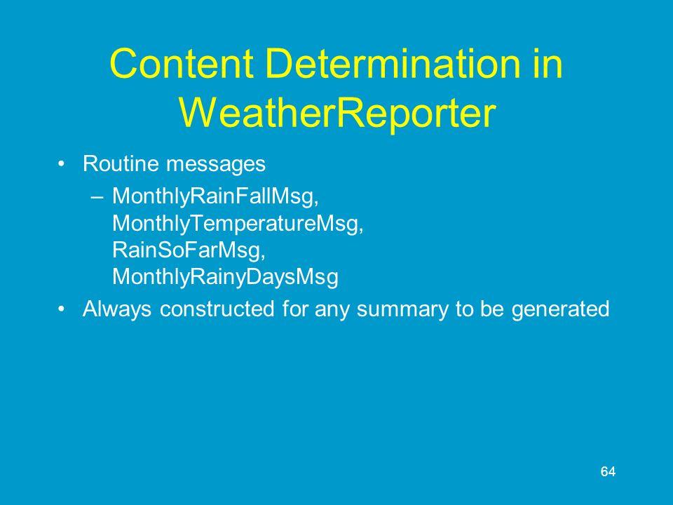 64 Content Determination in WeatherReporter Routine messages –MonthlyRainFallMsg, MonthlyTemperatureMsg, RainSoFarMsg, MonthlyRainyDaysMsg Always cons