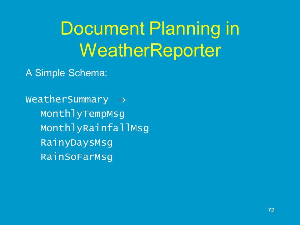 72 Document Planning in WeatherReporter A Simple Schema: WeatherSummary MonthlyTempMsg MonthlyRainfallMsg RainyDaysMsg RainSoFarMsg