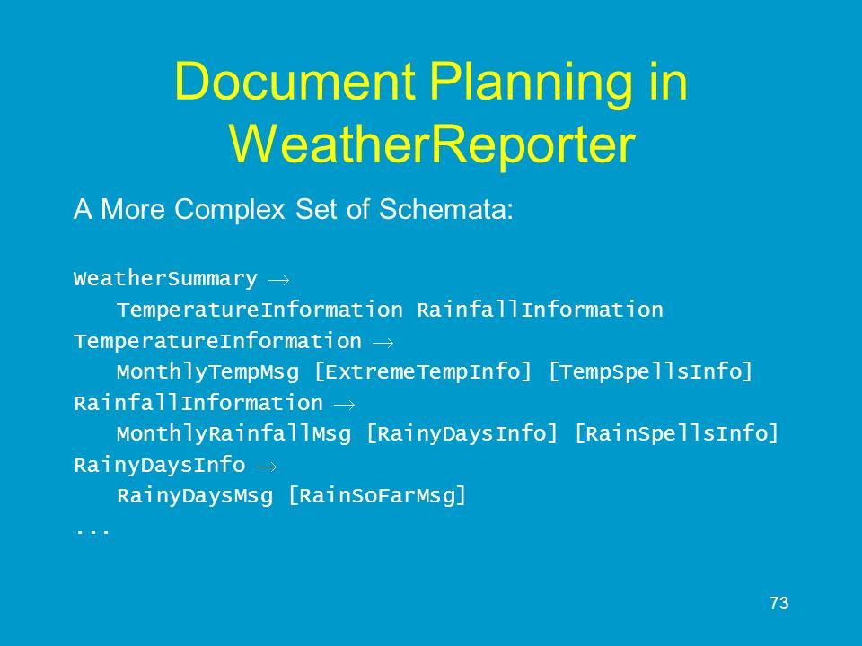 73 Document Planning in WeatherReporter A More Complex Set of Schemata: WeatherSummary TemperatureInformation RainfallInformation TemperatureInformati