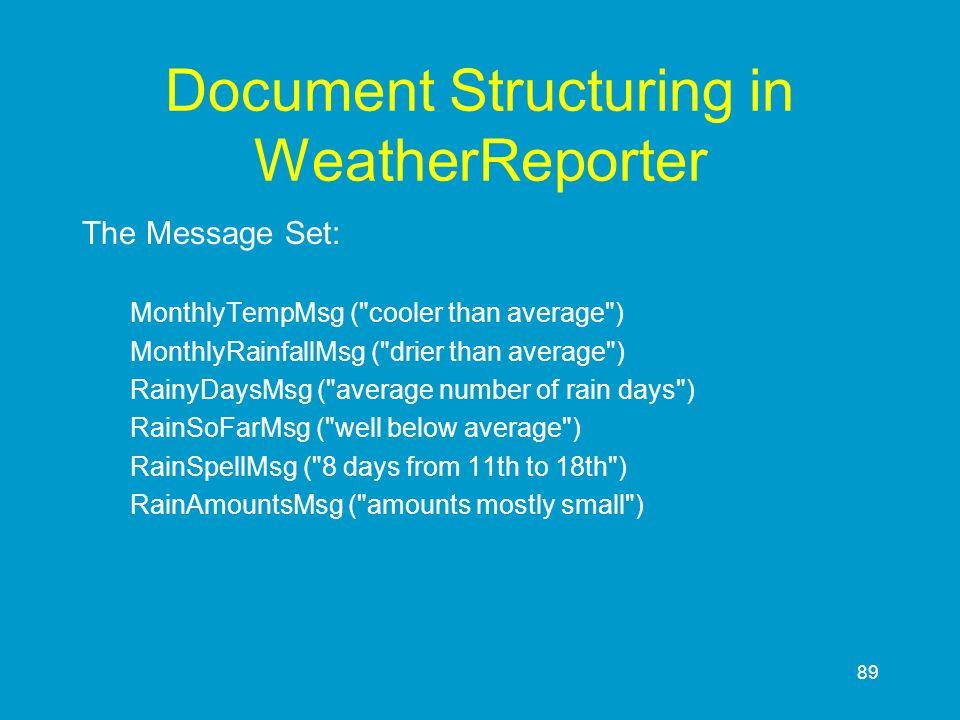 89 Document Structuring in WeatherReporter The Message Set: MonthlyTempMsg (