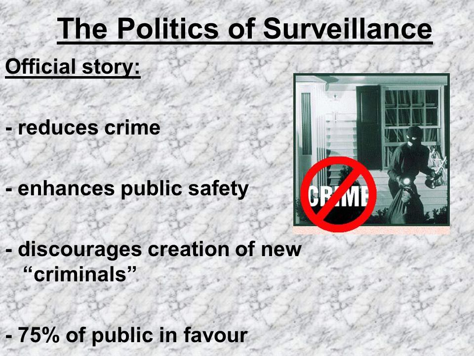 The Politics of Surveillance Official story: - reduces crime - enhances public safety - discourages creation of new criminals - 75% of public in favou