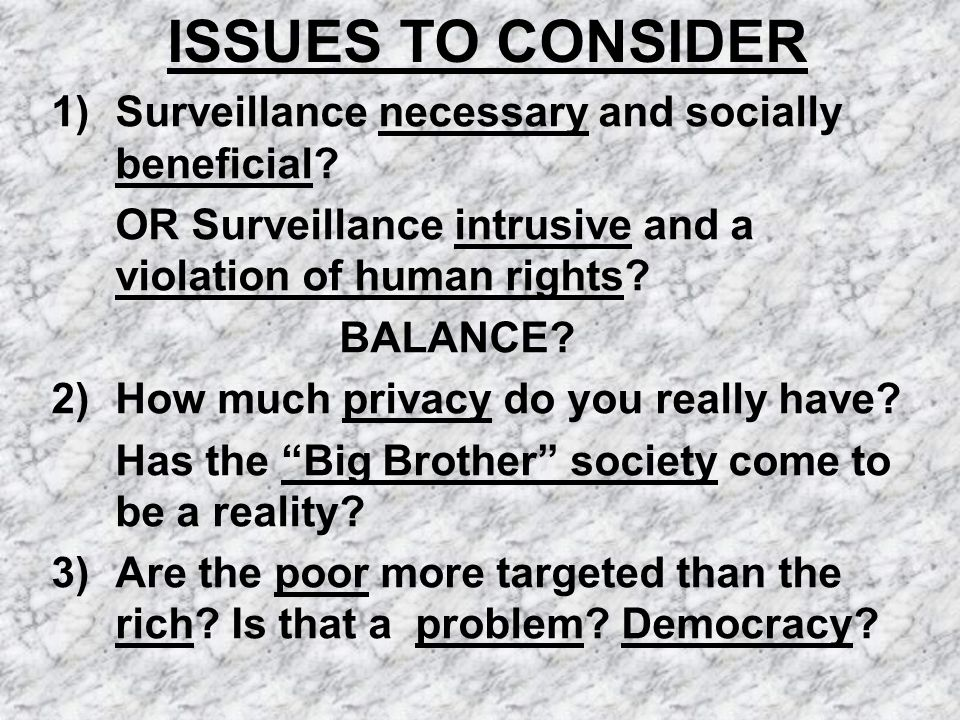 ISSUES TO CONSIDER 1) Surveillance necessary and socially beneficial.