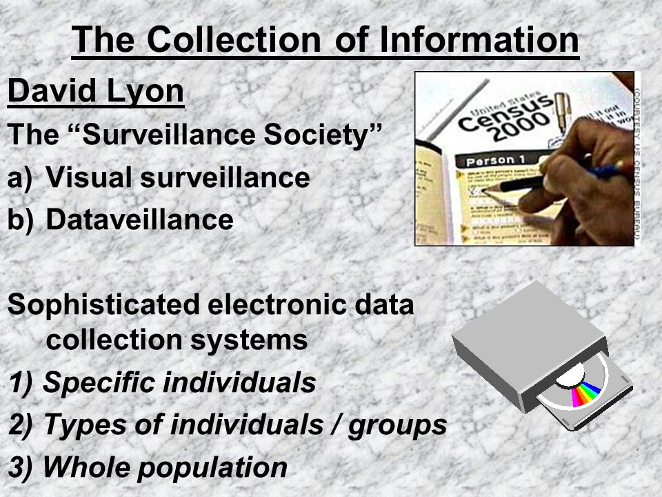 The Collection of Information David Lyon The Surveillance Society a)Visual surveillance b)Dataveillance Sophisticated electronic data collection syste