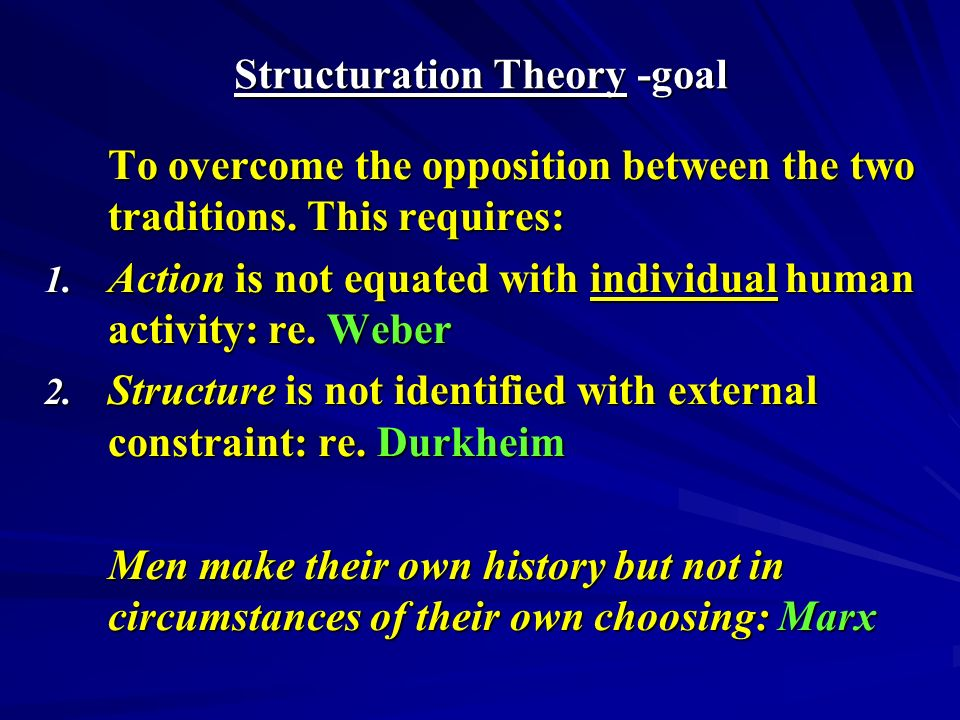 Structuration Theory -goal To overcome the opposition between the two traditions.