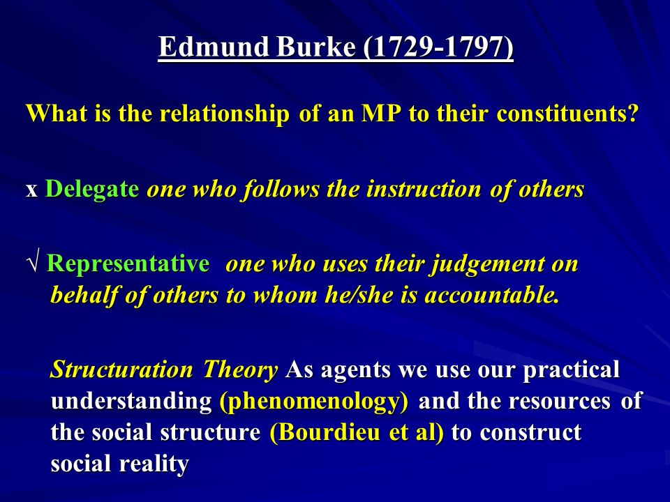 Edmund Burke (1729-1797) What is the relationship of an MP to their constituents.