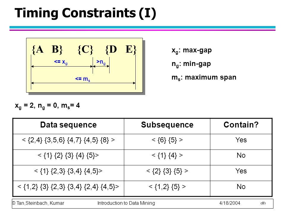 © Tan,Steinbach, Kumar Introduction to Data Mining 4/18/2004 15 Timing Constraints (I) {A B} {C} {D E} <= m s <= x g >n g x g : max-gap n g : min-gap