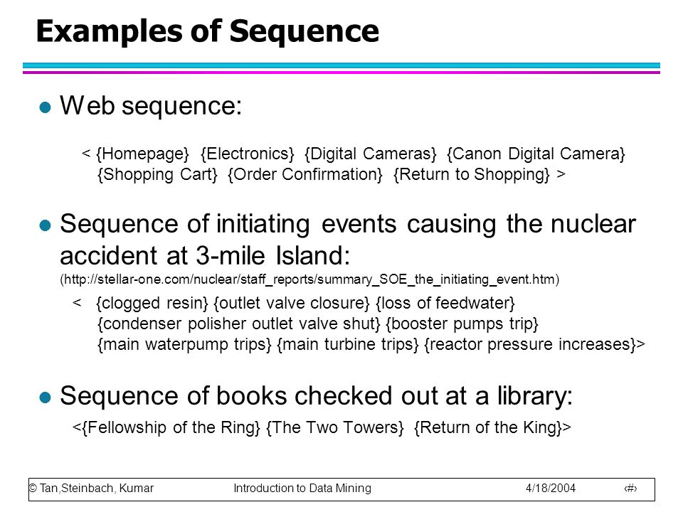 © Tan,Steinbach, Kumar Introduction to Data Mining 4/18/2004 5 Examples of Sequence l Web sequence: l Sequence of initiating events causing the nuclear accident at 3-mile Island: (http://stellar-one.com/nuclear/staff_reports/summary_SOE_the_initiating_event.htm) l Sequence of books checked out at a library: