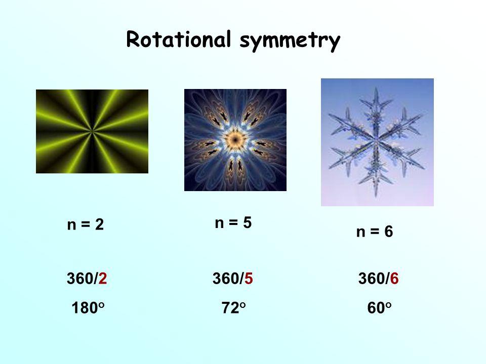 Rotational symmetry n = 2 n = 5 n = 6 360/2360/5360/6 180 o 72 o 60 o