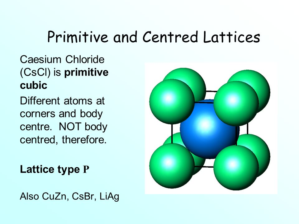 Primitive and Centred Lattices Caesium Chloride (CsCl) is primitive cubic Different atoms at corners and body centre.