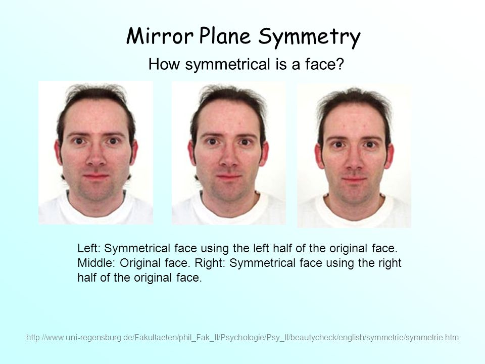 Left: Symmetrical face using the left half of the original face.