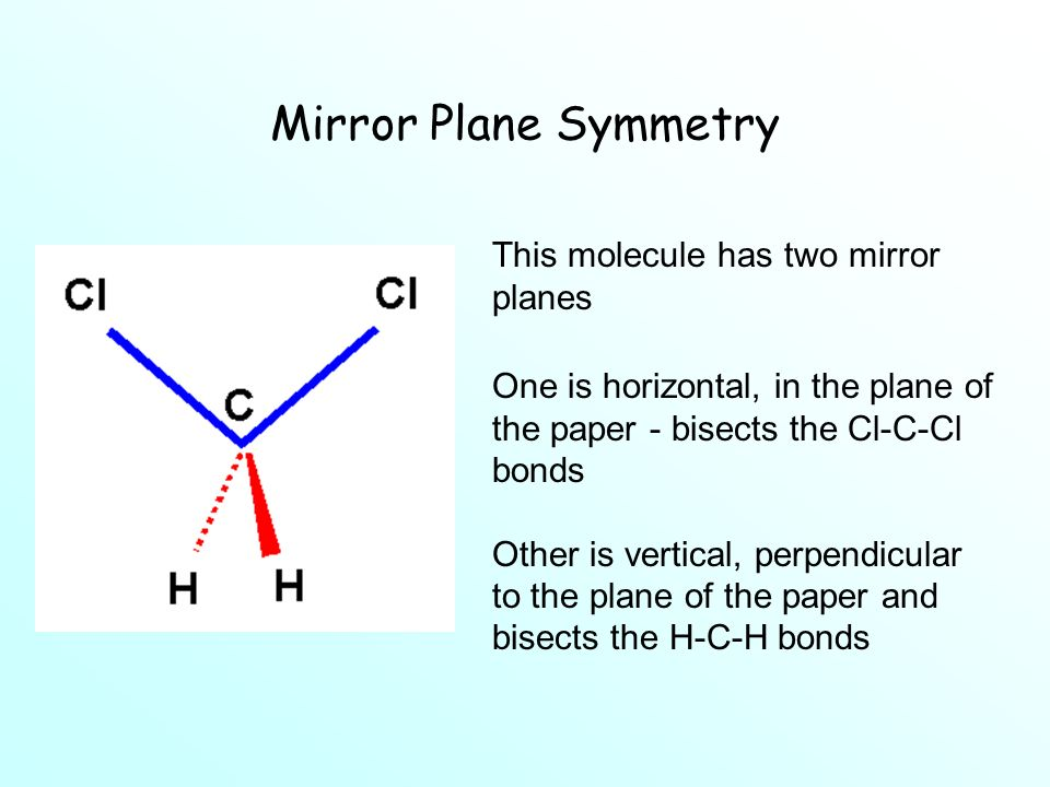 Mirror Plane Symmetry This molecule has two mirror planes One is horizontal, in the plane of the paper - bisects the Cl-C-Cl bonds Other is vertical, perpendicular to the plane of the paper and bisects the H-C-H bonds