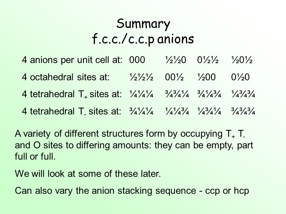 Summary f.c.c./c.c.p anions 4 anions per unit cell at:000½½00½½½0½ 4 octahedral sites at:½½½00½½000½0 4 tetrahedral T + sites at:¼¼¼¾¾¼¾¼¾¼¾¾ 4 tetrah