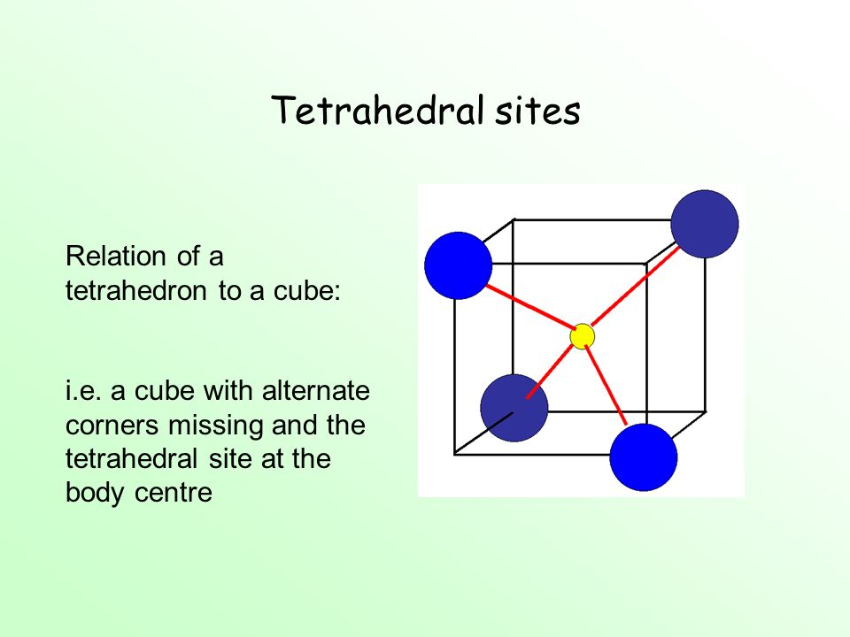 Tetrahedral sites Relation of a tetrahedron to a cube: i.e. a cube with alternate corners missing and the tetrahedral site at the body centre