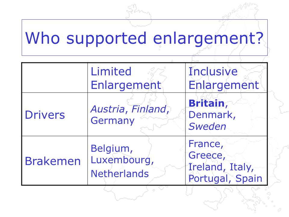 Who supported enlargement.