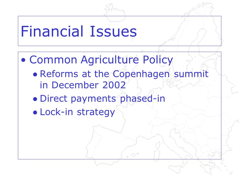 Financial Issues Common Agriculture Policy Reforms at the Copenhagen summit in December 2002 Direct payments phased-in Lock-in strategy