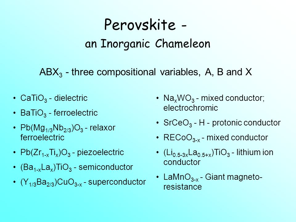 Objectives By the end of this section you should: be able to identify and draw the perovskite structure understand how the perovskite structure can be