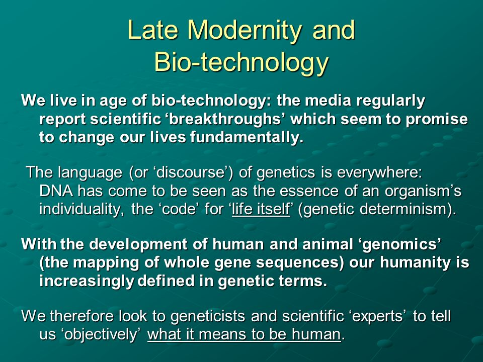 His research suggests that peoples deontological attitudes to the use of animals in biotechnology are not based on a naturalistic fallacy but upon the embodied social practices which connect particular social groups and individuals with animals.