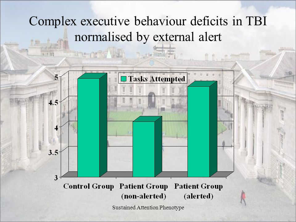 Sustained Attention Phenotype Complex executive behaviour deficits in TBI normalised by external alert