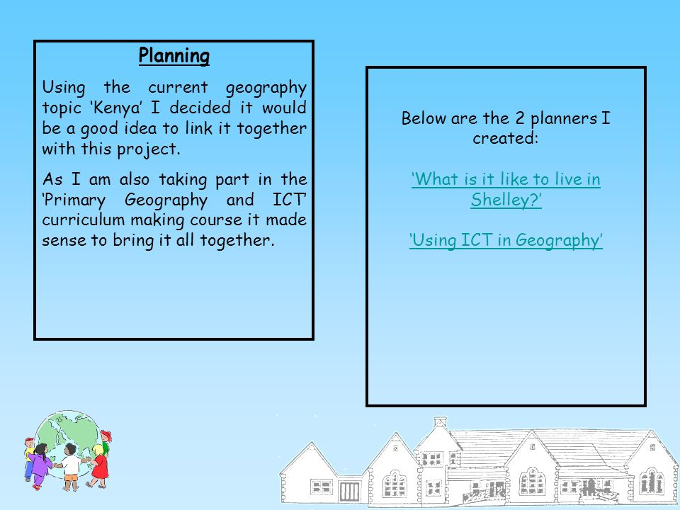 Planning Using the current geography topic Kenya I decided it would be a good idea to link it together with this project. As I am also taking part in