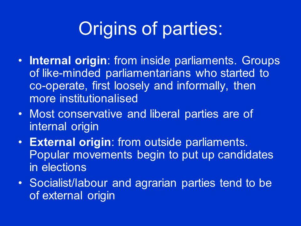 Origins of parties: Internal origin: from inside parliaments.