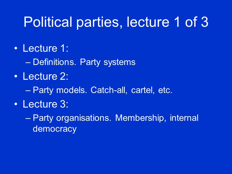Two approaches when… …classifying party systems according to number parties: Not taking size of parties into account: –Predominant party, two-party, 3-5 party >5 party systems Taking size of parties into account: –Predominant party, two-party, two-and-a-half- party, 1 big and several smaller parties; 2 big and several smaller parties; several small parties of roughly even size