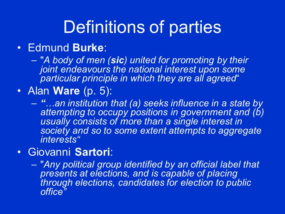 Party systems A party system is the range of political parties in a given political system.
