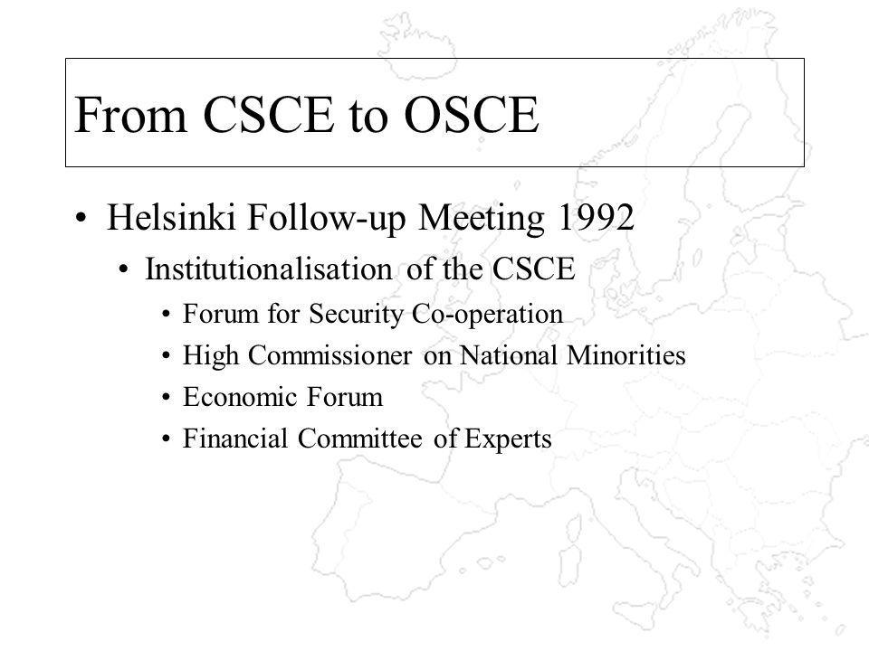 From CSCE to OSCE Helsinki Follow-up Meeting 1992 Institutionalisation of the CSCE Forum for Security Co-operation High Commissioner on National Minorities Economic Forum Financial Committee of Experts