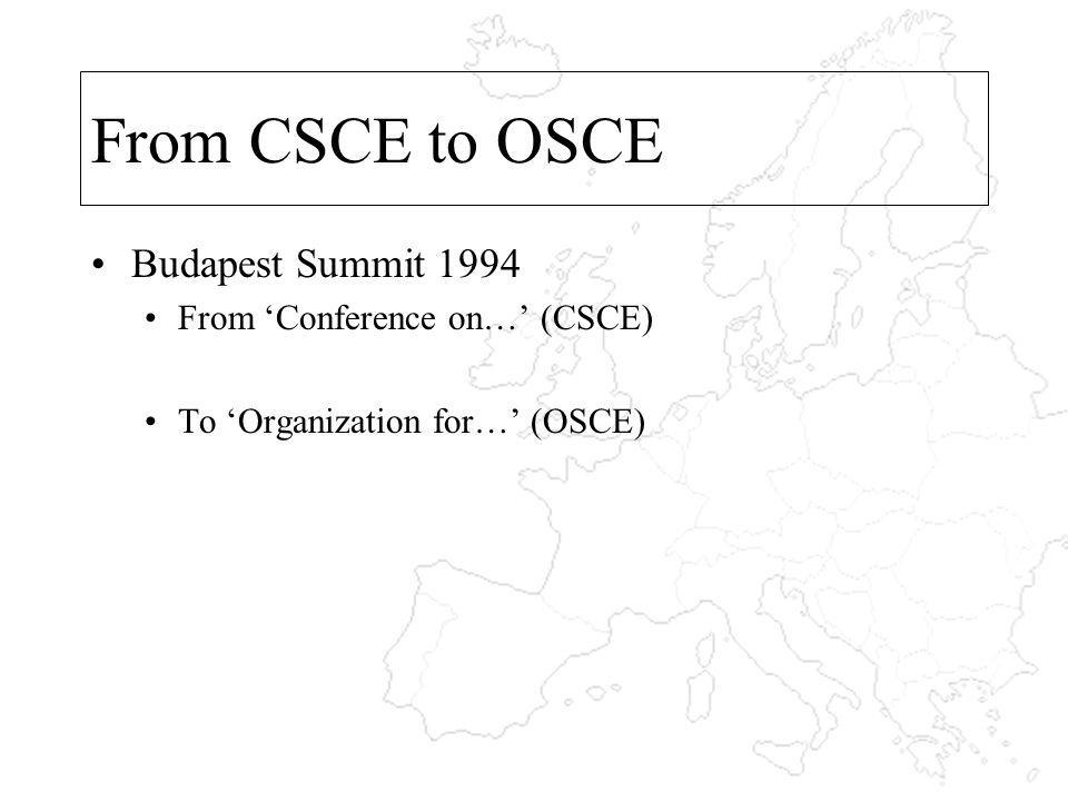 From CSCE to OSCE Budapest Summit 1994 From Conference on… (CSCE) To Organization for… (OSCE)