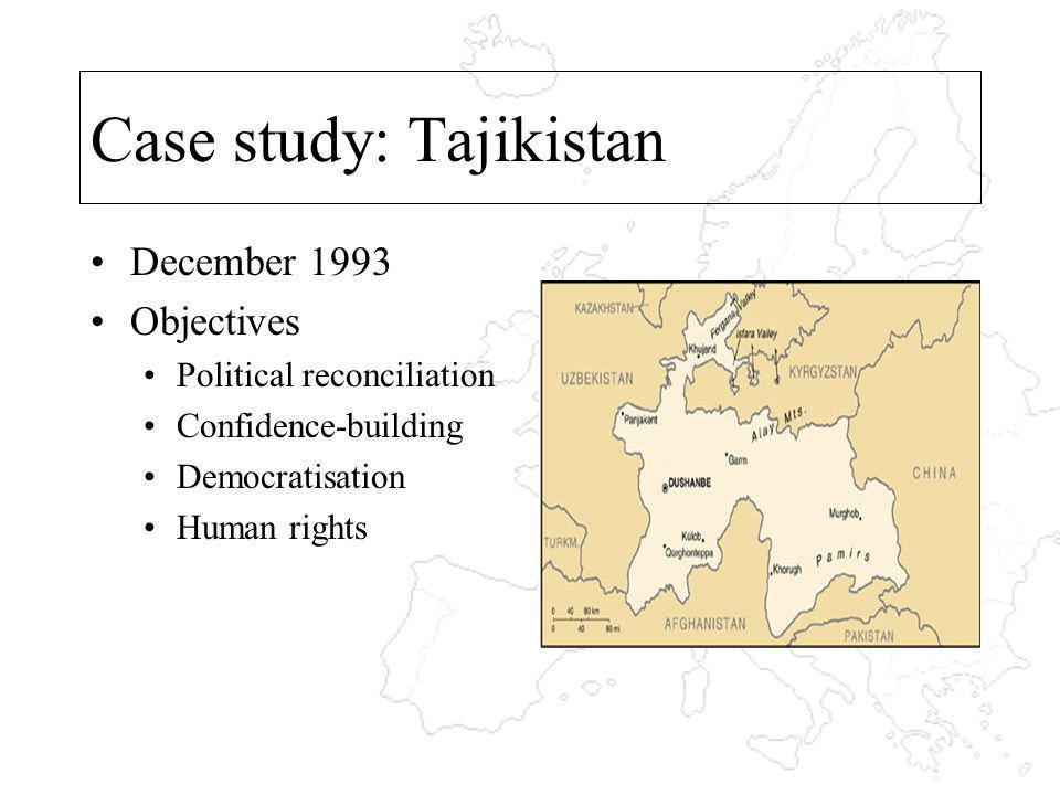 Case study: Tajikistan December 1993 Objectives Political reconciliation Confidence-building Democratisation Human rights