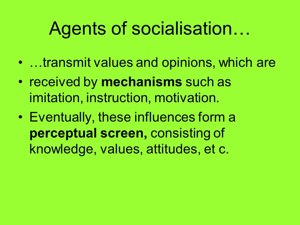 Agents of socialisation… …transmit values and opinions, which are received by mechanisms such as imitation, instruction, motivation. Eventually, these