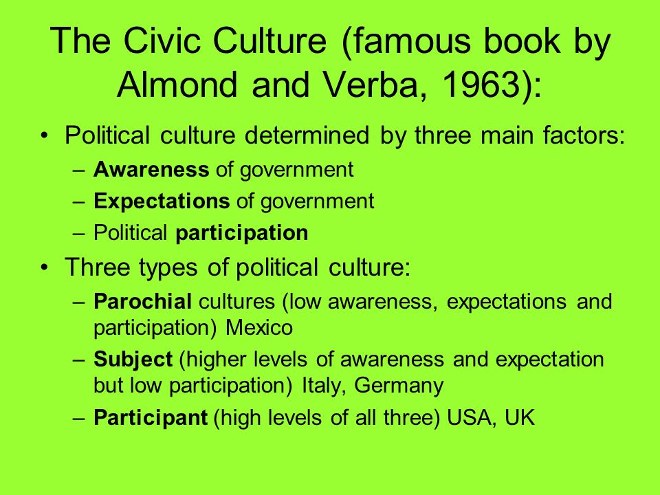 The Civic Culture (famous book by Almond and Verba, 1963): Political culture determined by three main factors: –Awareness of government –Expectations