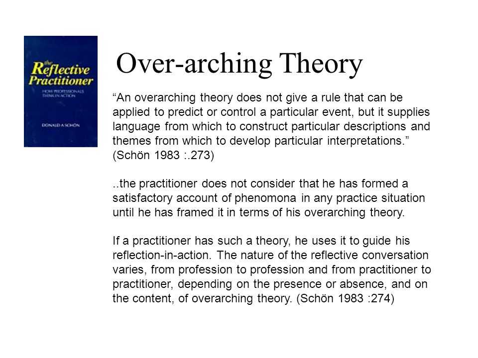 Over-arching Theory An overarching theory does not give a rule that can be applied to predict or control a particular event, but it supplies language