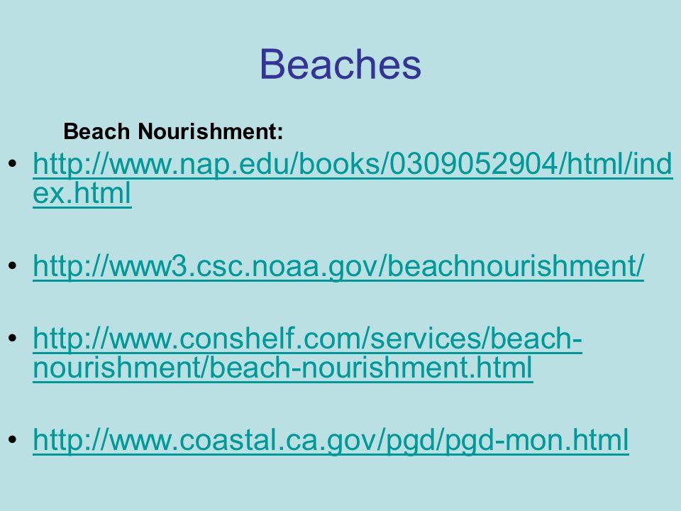 Beaches Beach Nourishment: http://www.nap.edu/books/0309052904/html/ind ex.htmlhttp://www.nap.edu/books/0309052904/html/ind ex.html http://www3.csc.no