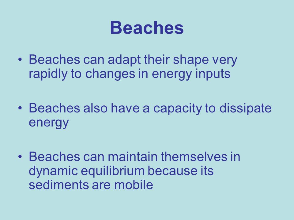 Beaches Beaches can adapt their shape very rapidly to changes in energy inputs Beaches also have a capacity to dissipate energy Beaches can maintain t