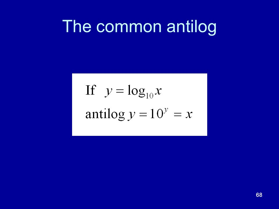 The common antilog 68