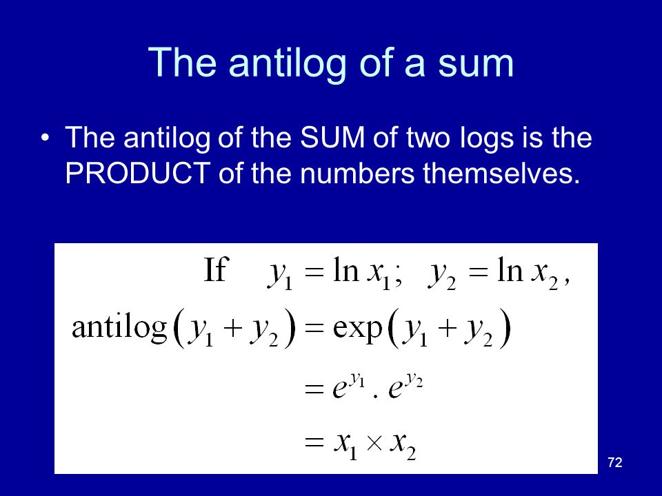 The antilog of a sum The antilog of the SUM of two logs is the PRODUCT of the numbers themselves. 72