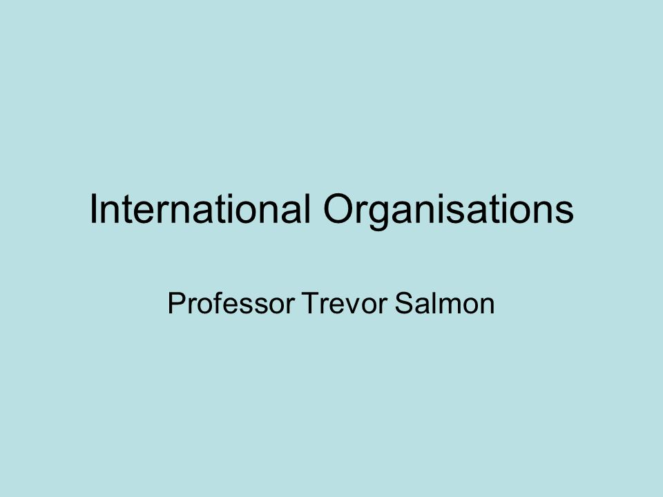 International Organisations Professor Trevor Salmon