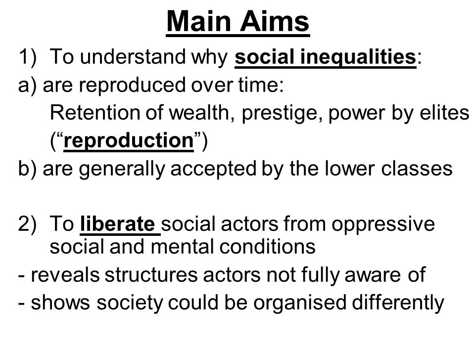 Main Aims 3) Reconcile and synthesise separate schools of sociological thought -Marxism (class & power) -Durkheimian sociology (division of labour; worldviews of different groups) -Weberian sociology (focus on social action; attention to empirical details) -Phenomenology (how people perceive the world they live in; how social power shapes perceptions)