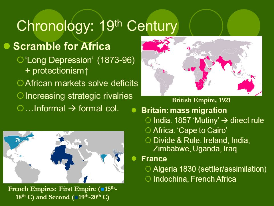 Chronology: 19 th Century Britain: mass migration India: 1857 Mutiny direct rule Africa: Cape to Cairo Divide & Rule: Ireland, India, Zimbabwe, Uganda, Iraq France Algeria 1830 (settler/assimilation) Indochina, French Africa Scramble for Africa Long Depression (1873-96) + protectionism African markets solve deficits Increasing strategic rivalries …Informal formal col.