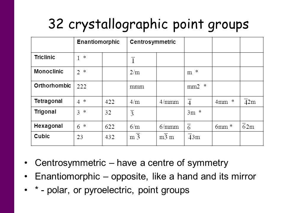 EnantiomorphicCentrosymmetric Triclinic 1 * Monoclinic 2 *2/mm * Orthorhombic 222mmmmm2 * Tetragonal 4 *4224/m4/mmm4mm * 2m Trigonal 3 *323m * Hexagon