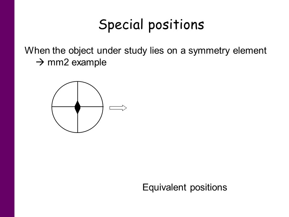 Special positions When the object under study lies on a symmetry element mm2 example General positions Special positions Equivalent positions