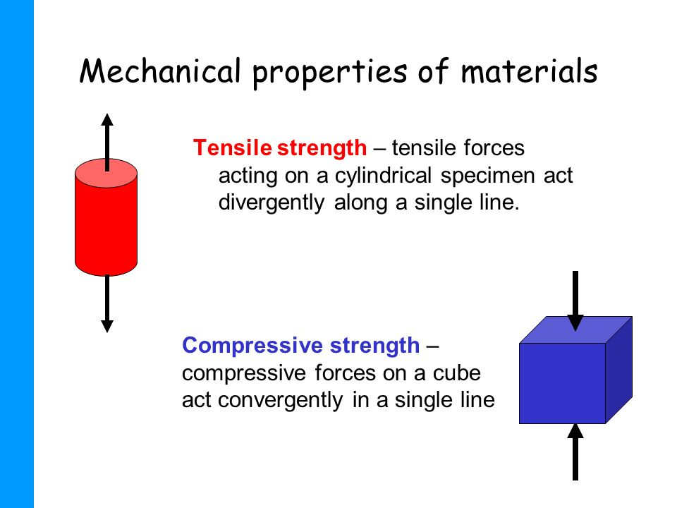 Mechanical properties of materials Tensile strength – tensile forces acting on a cylindrical specimen act divergently along a single line. Compressive