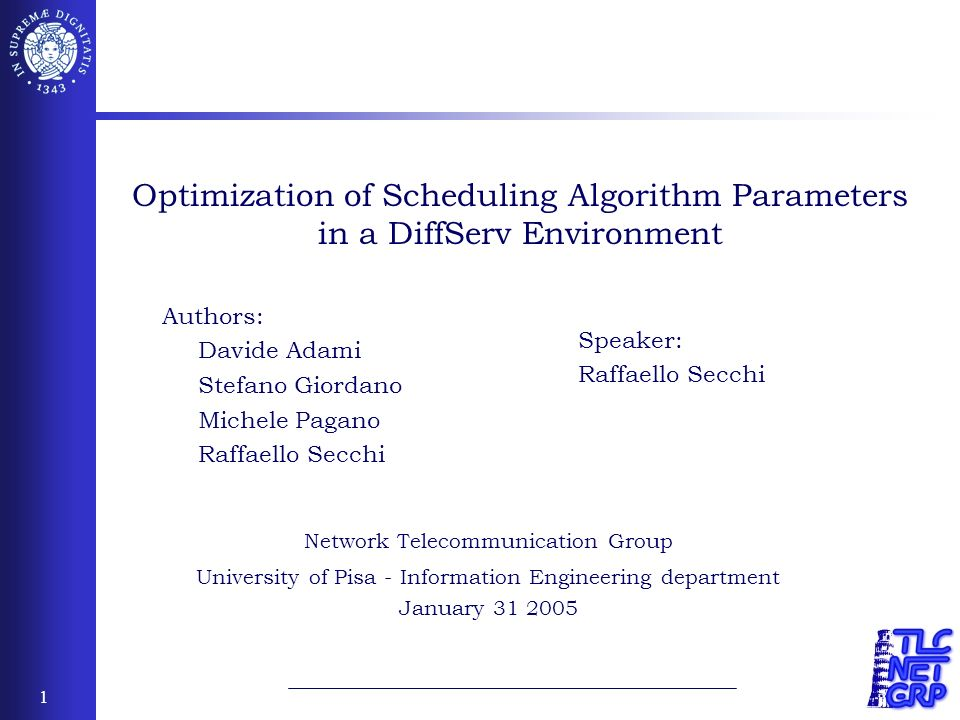 2 Outline Introduction to scheduling algorithms Deficit Weighted Round Robin Weighted Fair Queuing Objective of our study Performance Comparison between DRR and WFQ scheduler Derivation of a configuration strategy of scheduling parameters to minimize the end-to-end delay of real-time application in DRR networks Numerical Analysis Simulation results in high speed networks Conclusions