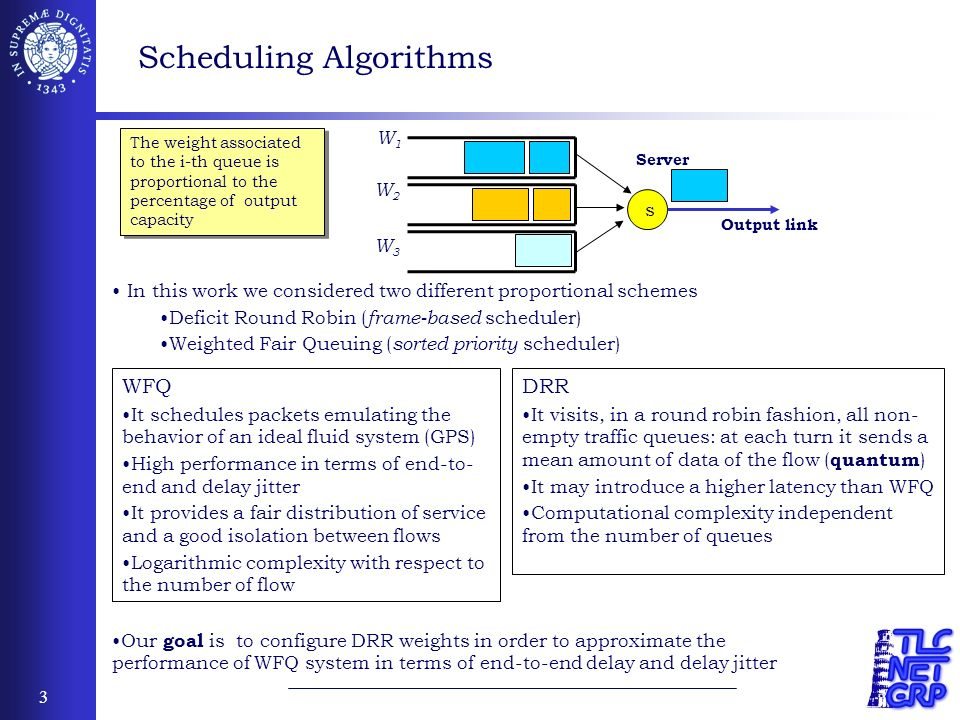 3 In this work we considered two different proportional schemes Deficit Round Robin ( frame-based scheduler) Weighted Fair Queuing ( sorted priority scheduler) Scheduling Algorithms Our goal is to configure DRR weights in order to approximate the performance of WFQ system in terms of end-to-end delay and delay jitter s Server Output link W1W1 W2W2 W3W3 The weight associated to the i-th queue is proportional to the percentage of output capacity WFQ It schedules packets emulating the behavior of an ideal fluid system (GPS) High performance in terms of end-to- end and delay jitter It provides a fair distribution of service and a good isolation between flows Logarithmic complexity with respect to the number of flow DRR It visits, in a round robin fashion, all non- empty traffic queues: at each turn it sends a mean amount of data of the flow ( quantum ) It may introduce a higher latency than WFQ Computational complexity independent from the number of queues